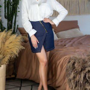 Заказать недорого синюю джинсовую юбку на запах на змейке для женщин