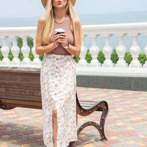 Приобрести молочную онлайн принтованную юбку миди из штапеля для женщин