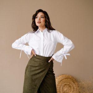 Купить в интернете цвета хаки женскую замшевую юбку на запах (размер 42-48) в Украине