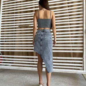 Купить в интернете женскую джинсовую юбку необычного кроя серого цвета