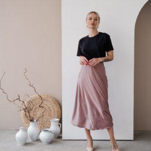 Купить в интернете юбку из шёлка армани (размер 42-48) цвета капучино для женщин