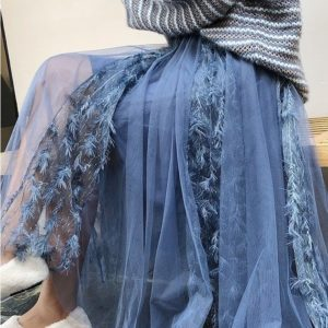 Приобрести синюю женскую юбку миди из фатина с перьями (размер 42-48) недорого