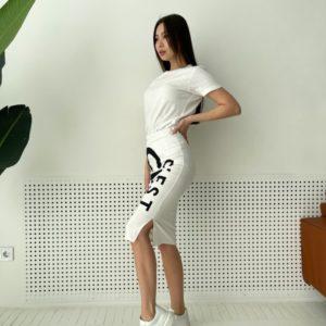 Заказать белую женскую трикотажную юбку chik по скидке