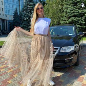 Заказать женскую длинную бежевую юбку из сетки недорого