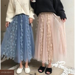 Заказать синего и бежевого цвета женскую юбку миди из фатина с перьями (размер 42-48) в интернете