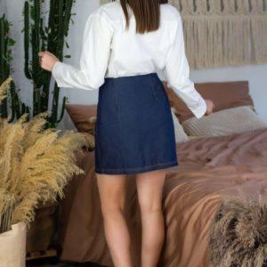 Купить джинсовую женскую юбку синюю на запах на змейке онлайн