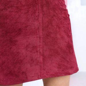 Купить бордовую женскую вельветовую юбку мини с поясом в интернете
