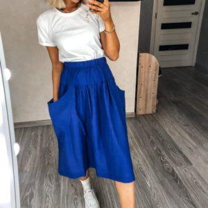 Приобрести синюю льняную юбку онлайн с карманами для женщин