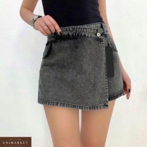 Купить серого цвета женскую джинсовую юбку-шорты на запах по низким ценам