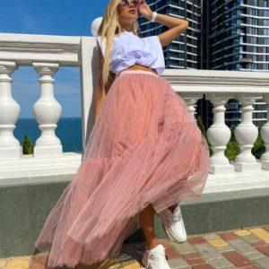 Купить по скидке пудровую длинную юбку из сетки для женщин