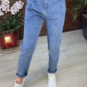 Заказать голубого цвета джинсы для женщин на резинке со змейкой недорого