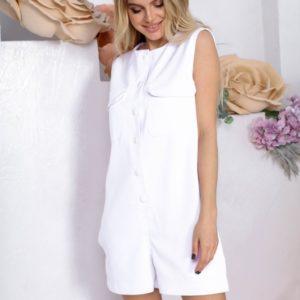 Замовити по знижці білий комбінезон з шортами на заклепках для жінок