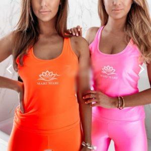 Купить по скидке оранж, розовый спортивный костюм из эластана (размер 40-54) для женщин