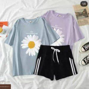 Купить выгодно голубой, лиловый костюм с ромашкой: футболка+шорты для женщин