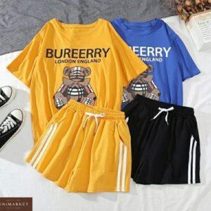 Купить женский летний костюм: футболка с принтом + шорты цвета горчица, синий, черный по скидке