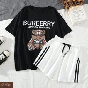 Купить по скидке черно-белый женский летний костюм: футболка с принтом + шорты