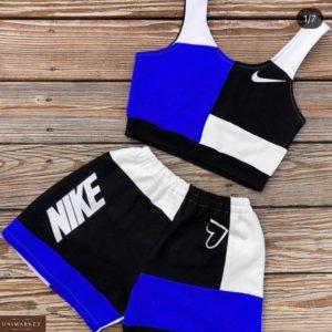 Приобрести синий женский летний спортивный костюм: топ + шорты в интернете