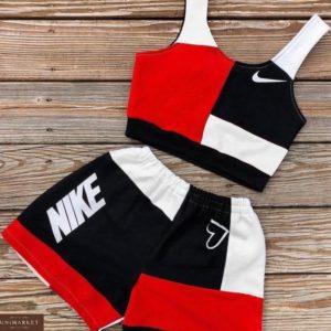 Заказать по низким ценам женский летний спортивный костюм: топ + шорты красного цвета