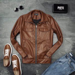 заказать мужскую кожаную куртку коричневого цвета онлайн недорого