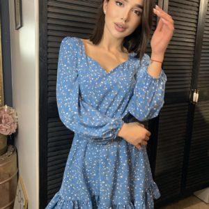 купить нежное женское платье голубое с цветочным принтом по низкой цене