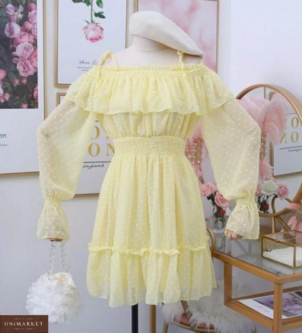 Заказать по скидке желтое шифоновое платье с открытыми плечами и рюшами для женщин