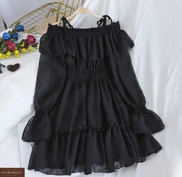 Купить дешево женское шифоновое платье с открытыми плечами и рюшами черного цвета