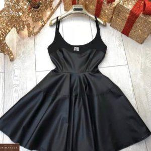 Купить черное женское кожаное платье на бретельках в интернете