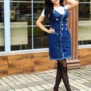 Заказать по скидке женский джинсовый сарафан с необработанным краем синего цвета