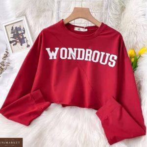 Купить недорого красный женский укороченный свитшот Wondrous
