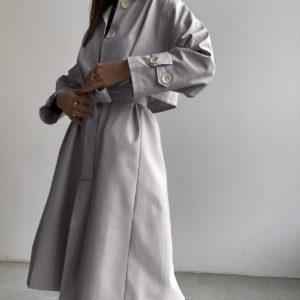 купить женский тренч светло серый из весенней коллекции по скидке