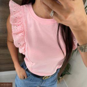 Купить по скидке женскую футболку с нежными рукавами розового цвета