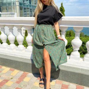 Заказать зеленую женскую принтованную юбку миди из штапеля в интернете