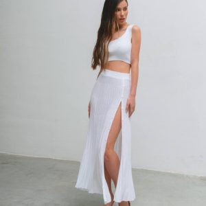 купить летний костюм с топом молочного цвета по выгодной скидке онлайн