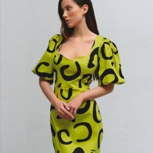 купить женское миди платье с принтом в лаймовом цвете по низкой цене