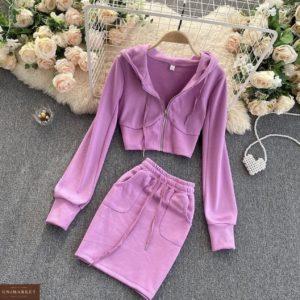 заказать лиловый прогулочный женский костюм с юбкой из весенней коллекции по скидочной цене