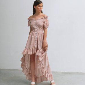 заказать женское платье ассиметрию с длинным рукавом из летней коллекции