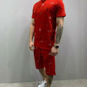 заказать мужской спортивный костюм красного цвета с принтом недорого онлайн