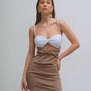 женское платье кофейного цвета из летней коллекции магазина Юнимаркет по скидке