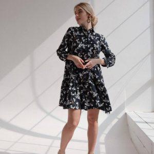 заказать чёрное летнее платье с принтом по выгодной скидке