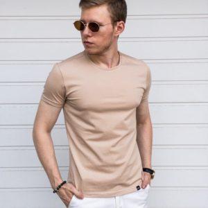 купить летнюю мужскую футболку бежевого цвета по низкой цене