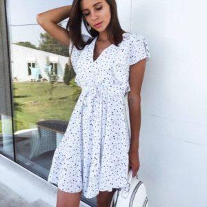 купить женское летнее платье в горошек белого цвета по низкой цене