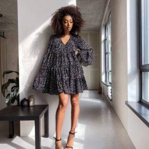 купить чёрное летнее платье с длинным рукавом недорого