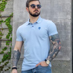 купить мужскую футболку поло голубого цвета по низкой цене
