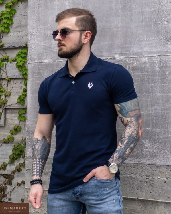 летняя мужская футболка polo синего цвета c доставкой в любой город от Unimarket