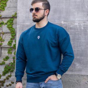 заказать мужской свитшот однотонный цвета морской волны по низкой стоимости онлайн