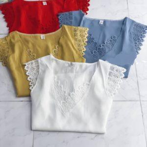Приобрести белую, красную, голубую шелковую блузу с кружевом онлайн для женщин