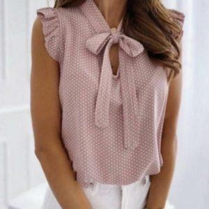 Замовити пудра жіночу літню блузу в горошок (розмір 42-54) недорого