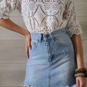 Заказать недорого белую кружевную блузу с квадратным вырезом для женщин