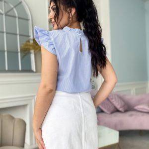 Придбати блакитну жіночу блузу в дрібну смужку (розмір 42-56) в інтернеті