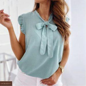Купити ментол жіночу онлайн річну блузу в горошок (розмір 42-54)